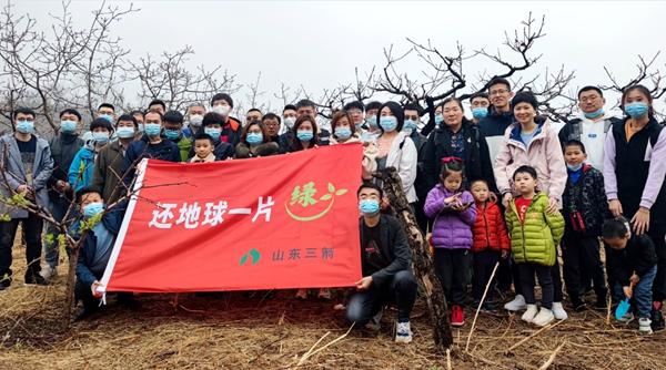 山东三箭集团各基层党支部开展公益植树活动